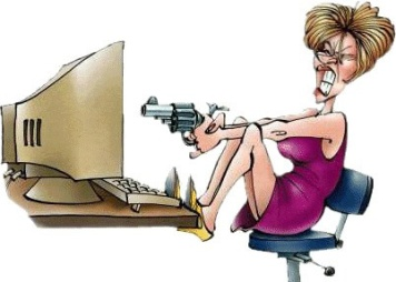 Angry woman shooting computer
