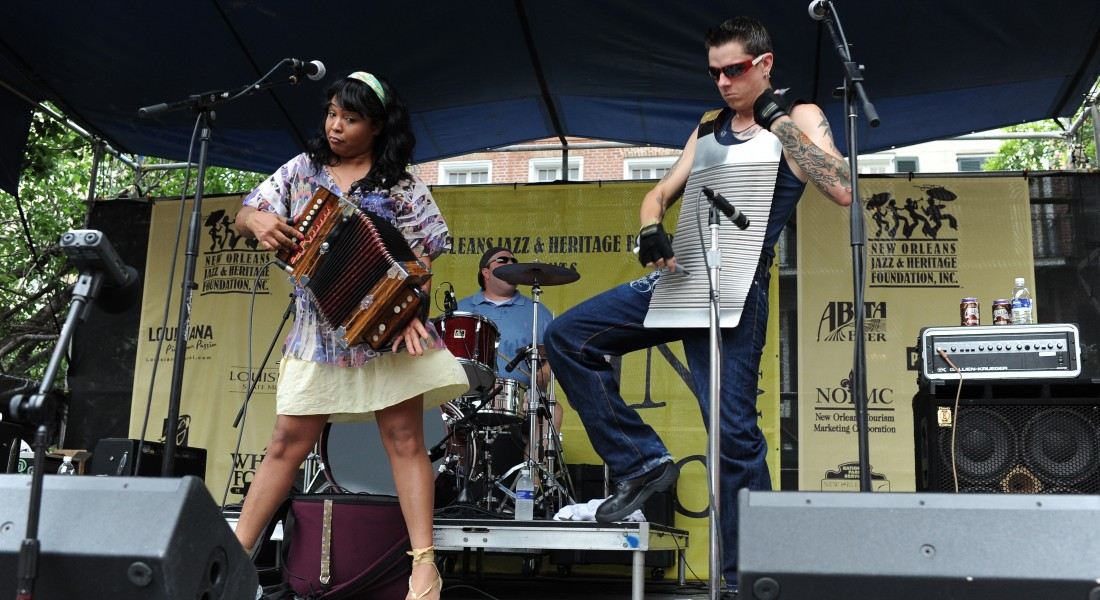 Zydeco musicians at the Cajun Zydeco Festival