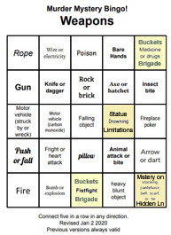 Bingo Card-Weapons